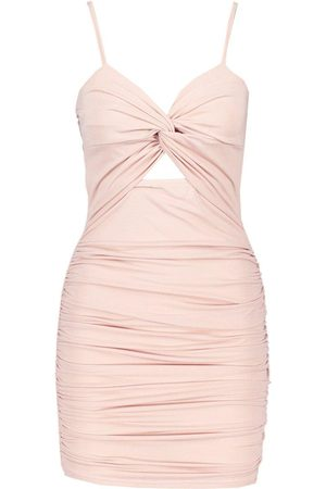 Boohoo Rouche Knot Front Bodycon Mini Dress