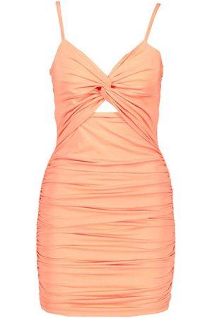 Boohoo Rouche Knot Front Bodycon Mini Dress