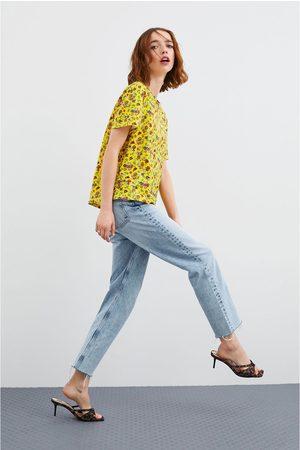 Zara Dame Sandaler - Sandal med middels høy hæl og dyremønster