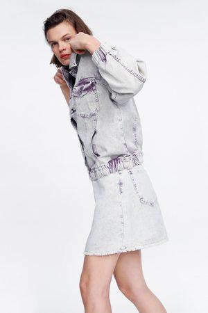 Zara Dame Miniskjørt - Miniskjørt i denim med vasket effekt