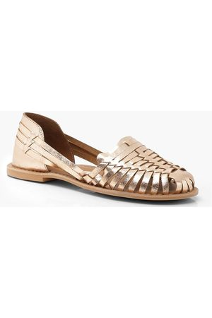 Boohoo Wide Fit Metallic Leather Woven Ballets