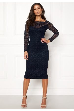 Ax Paris Lace Off Shoulder Dress Navy XS (UK8)