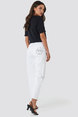 Faces I Don't Know x NA-KD Dame High waist - Pocket Embroidered Jeans