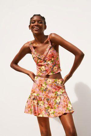 Zara Kort bukseskjørt med blomstermønster