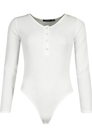Boohoo Dame Body - Rib Knit Long Sleeve Button Bodysuit