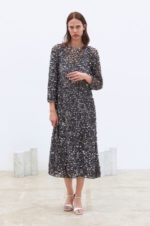 Zara Dame Festkjoler - Kjole i nettingstoff med paljetter limited edition