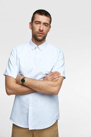 Zara Rustikk skjorte med korte ermer