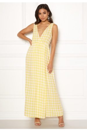 Ivyrevel Maxi Dress With Slit Yellow Pepita Print 40