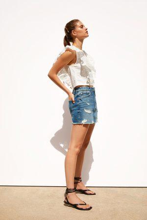 Zara Dame Miniskjørt - Ripped denim mini skirt