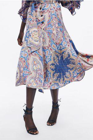 Zara Dame Mønstrede skjørt - Mønstret skjørt med knapper