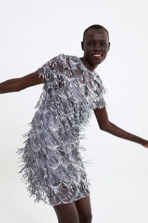 Zara Dame Festkjoler - Kjole med frynser og paljetter