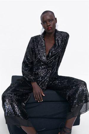 Zara Dame Culotte bukser - Culottebukse med paljetter