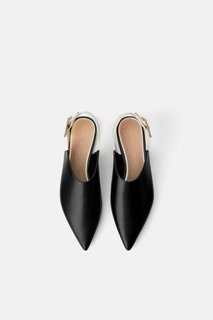 Zara Dame Loafers - Flat sko med åpen hæl og stor spenne
