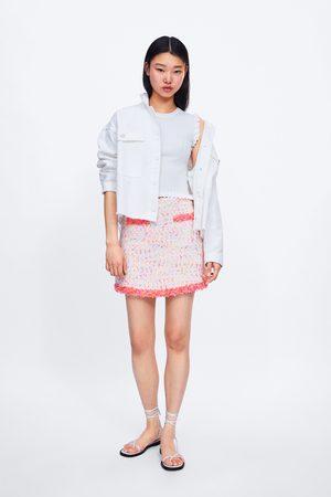 Zara Miniskjørt med frynser i kantene