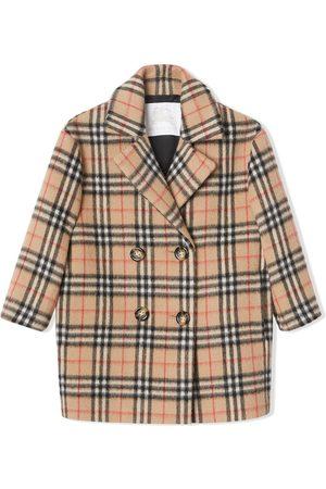 Burberry Jente Ullkåper - Vintage Check Alpaca Wool Blend Pea Coat