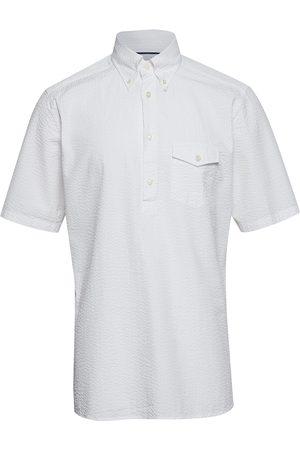 Eton White Seersucker Short Sleeve Popover Shirt Kortermet Skjorte