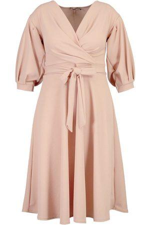 Boohoo Plus Off Shoulder Full Skirted Wrap Midi Dress
