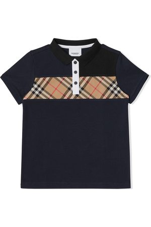 Burberry Gutt Pique - Vintage Check Panel Cotton Polo Shirt