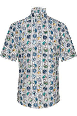 Eton Tennis Print Seersucker Short Sleeve Popover Shirt Kortermet Skjorte Blå