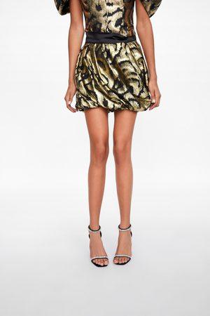Zara Dame Miniskjørt - Miniskjørt med metallisert tråd