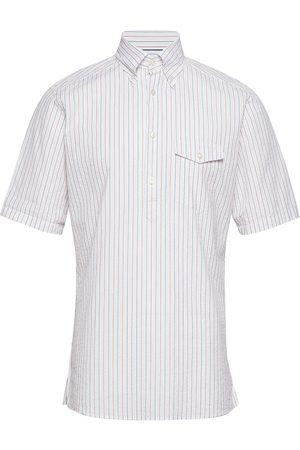 Eton Striped Seersucker Short Sleeve Popover Shirt Kortermet Skjorte