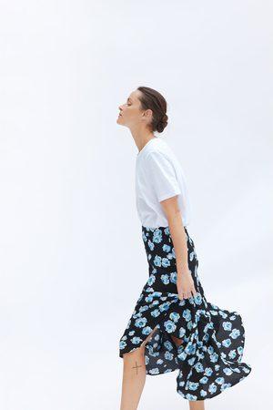 Zara Dame Midiskjørt - Blomstret midiskjørt