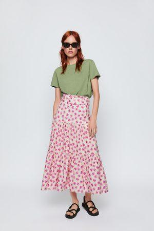 Zara Dame Mønstrede skjørt - Mønstret skjørt med belte
