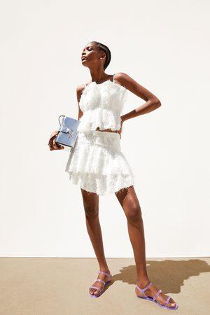 Zara Dame Miniskjørt - Miniskjørt med tekstur og volang