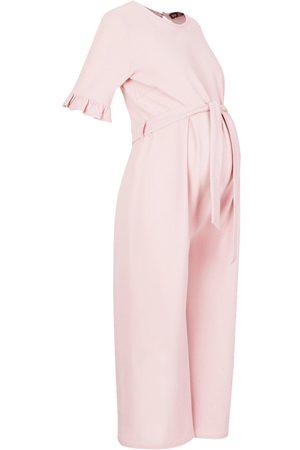 Boohoo Maternity Tie Waist Ruffle Cullotte Jumpsuit