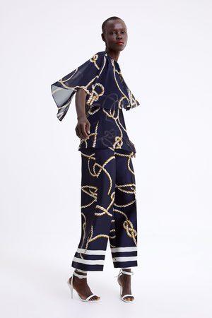 Zara Dame Culotte bukser - Culottebukse med knutemønster