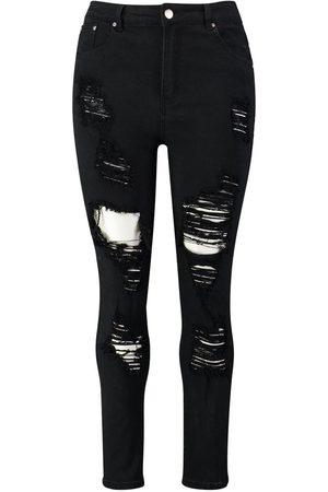 Boohoo Plus Distressed High Rise Stretch Skinny Jean