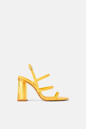 Zara Sandal med bred høy hæl i metakrylat