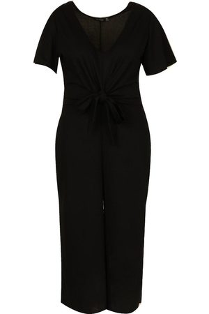 Boohoo Plus Tie Front Angel Sleeve Culotte Jumpsuit