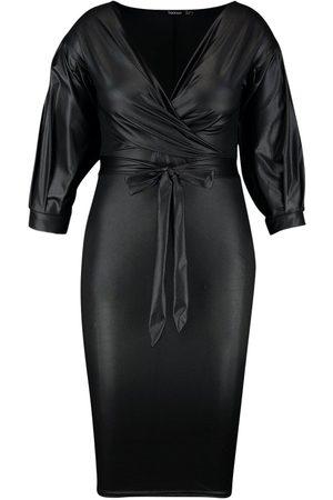 Boohoo Plus Leather Look Off Shoulder Midi Dress