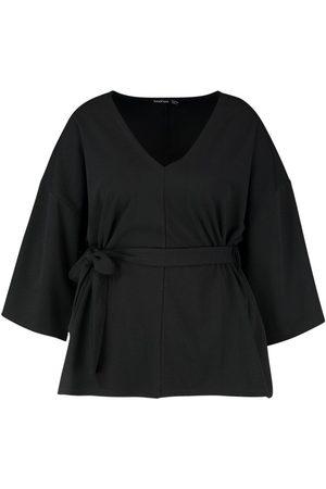 Boohoo Plus Woven Kimono Sleeve Tie Top