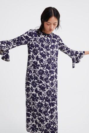 Zara Dame Mønstrede kjoler - Mønstret kjole med volangermer