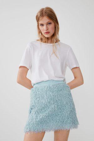 Zara Dame Miniskjørt - Miniskjørt med fjæreffekt