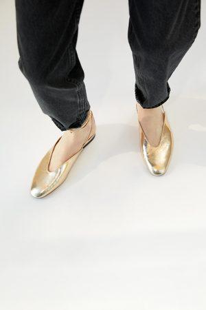 Zara Dame Ballerinasko - Metallfarget ballerina med knyting