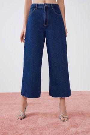 Zara Dame Culotte bukser - Culottebukse i denim med høyt liv