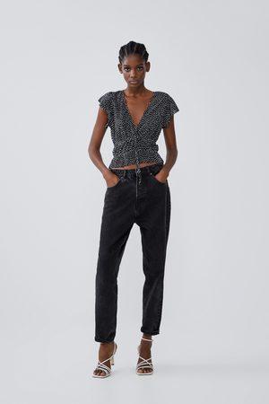 Zara Plissert t-skjorte med volanger
