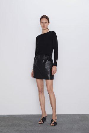 Zara Dame Miniskjørt - Miniskjørt i kunstskinn med lommer