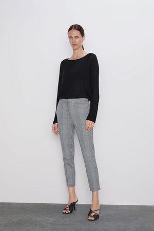 Zara Dame Bukser - Rutet bukse med linning i midjen