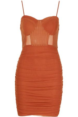 Boohoo Mesh Ruched Mini Dress