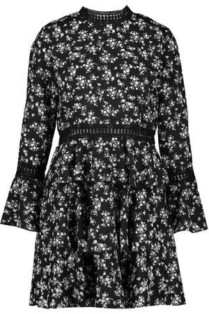 Boohoo High Neck Floral Tiered Skater Dress