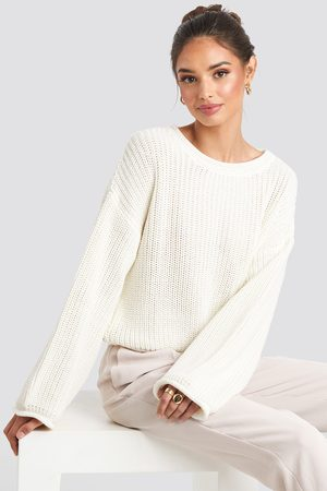 NA-KD Dame Gensere - Cropped Boat Neck Knitted Sweater