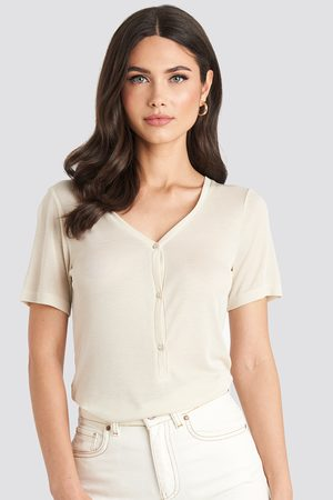 NA-KD Button Up Ribbed Top