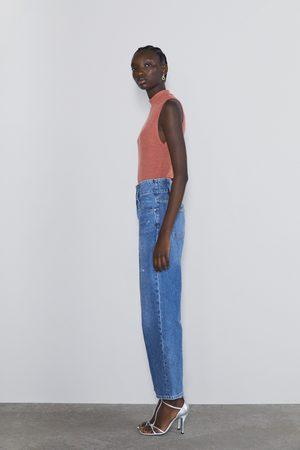 Zara Dame Skjorter - Basic t-skjorte i ribbestrikk