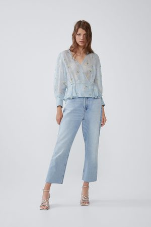 Zara Dame Skjorter - Mønstret skjorte med metallisert tråd
