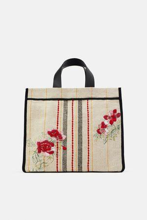 Zara Dame Tote bags - Shopper veske i stoff med broderi