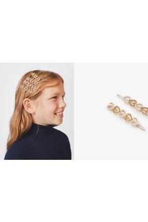 Zara Håraccessories - 2-pakning hårspenner hjerter med glitter